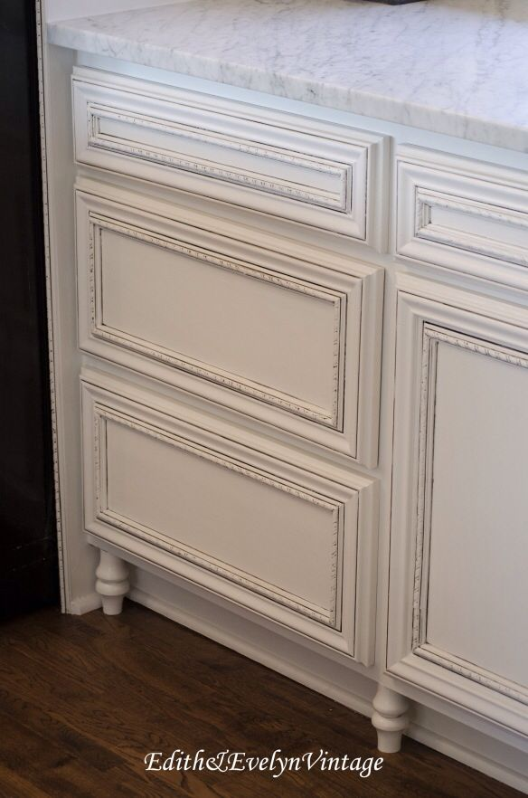 Stock Unfinished Cabinets from Home Depot with Decorative Moulding & Furniture Feet