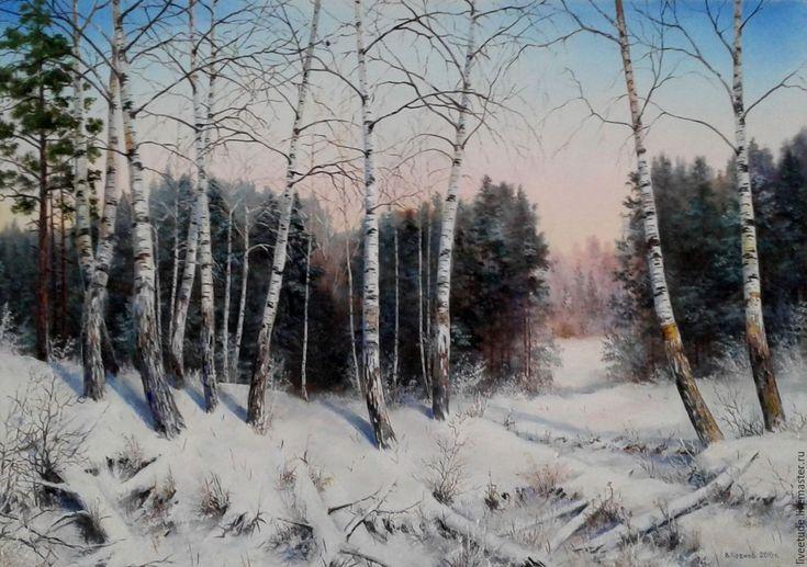 Купить Картина маслом пейзаж Морозный день авторская работа - картина в подарок, картина для интерьера