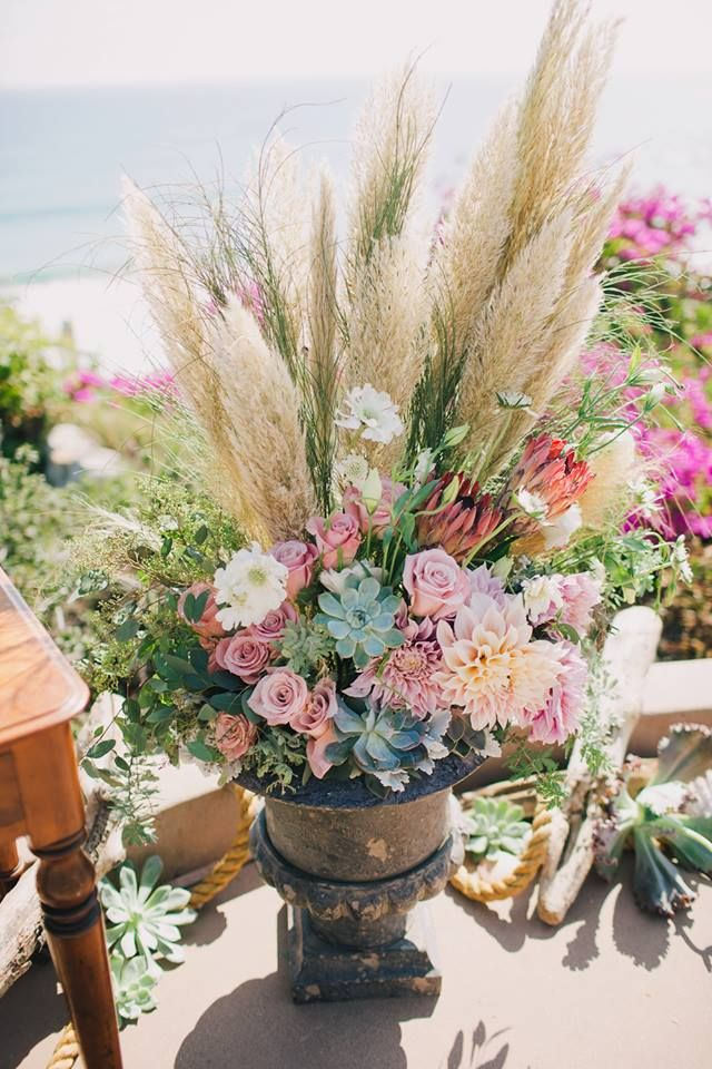 Ceremony decor for beach wedding grass succulents
