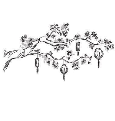 Tree branch with chinese lanterns vector - by kamenuka on VectorStock®