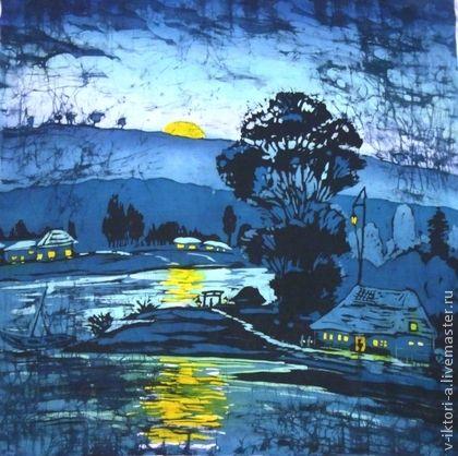 """Пейзаж ручной работы. Ярмарка Мастеров - ручная работа """"Лунная ночь""""( картина на шёлке) 90-90см.Крепдешин , горячий батик.. Handmade."""