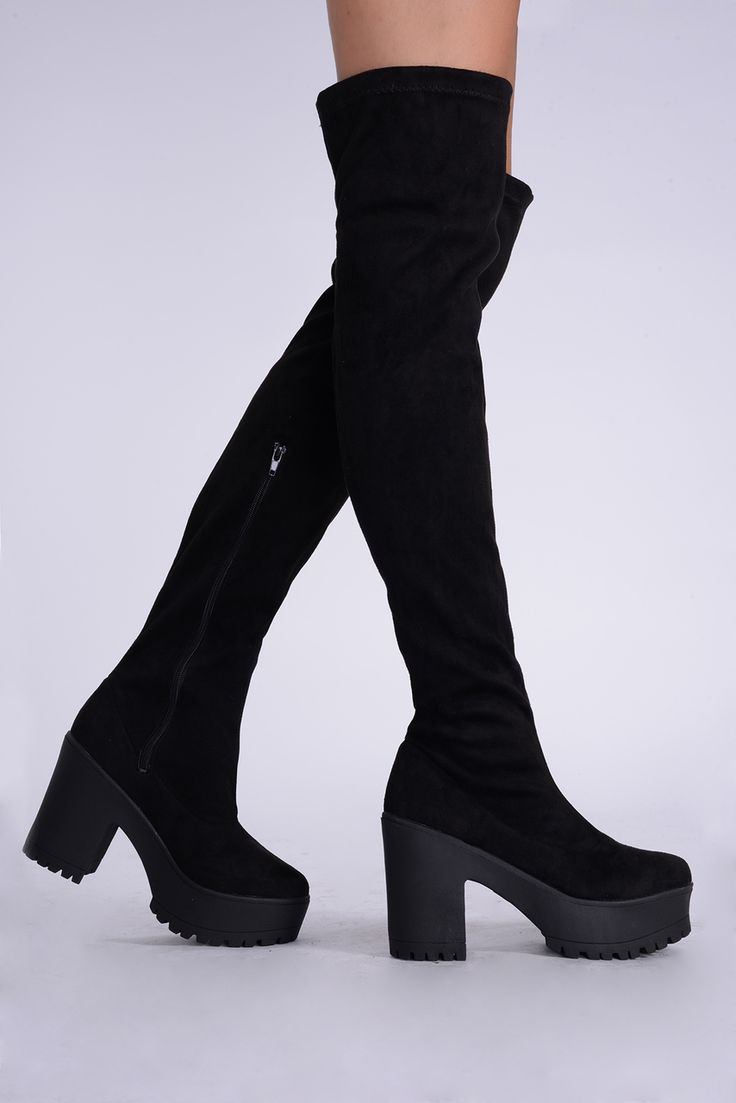 Tia Black Over The Knee Faux Suede Block Heel Boots | Boots, Heel ...