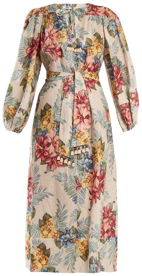 1fc22ecdf0 ZIMMERMANN Kali floral-print tie-waist linen shirtdress