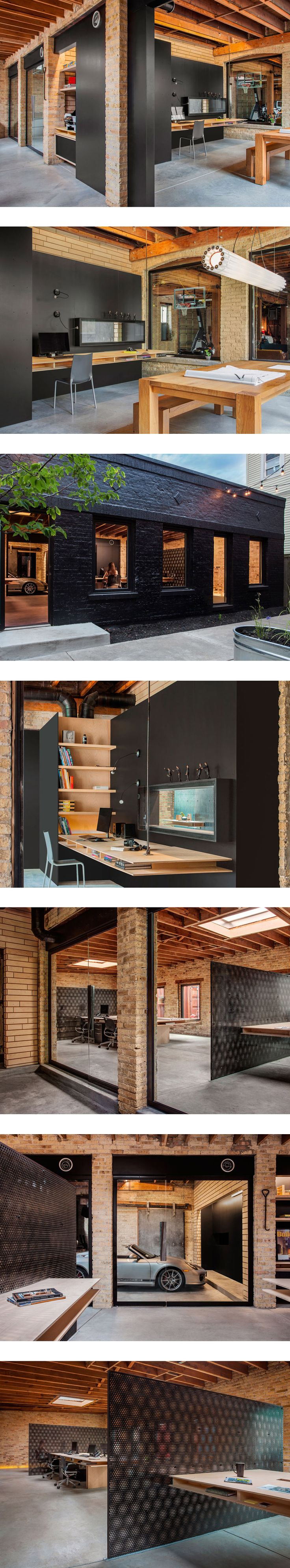 #office #wood #black #brick #interior