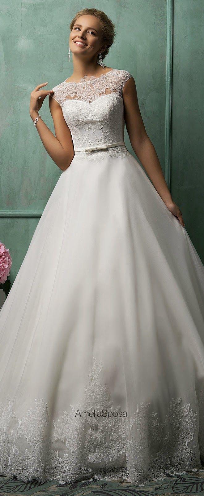 pretty vestidos de noiva amelia sposa 2014 cap manga vestido davia Volta Ilusão | heartoverheels.com