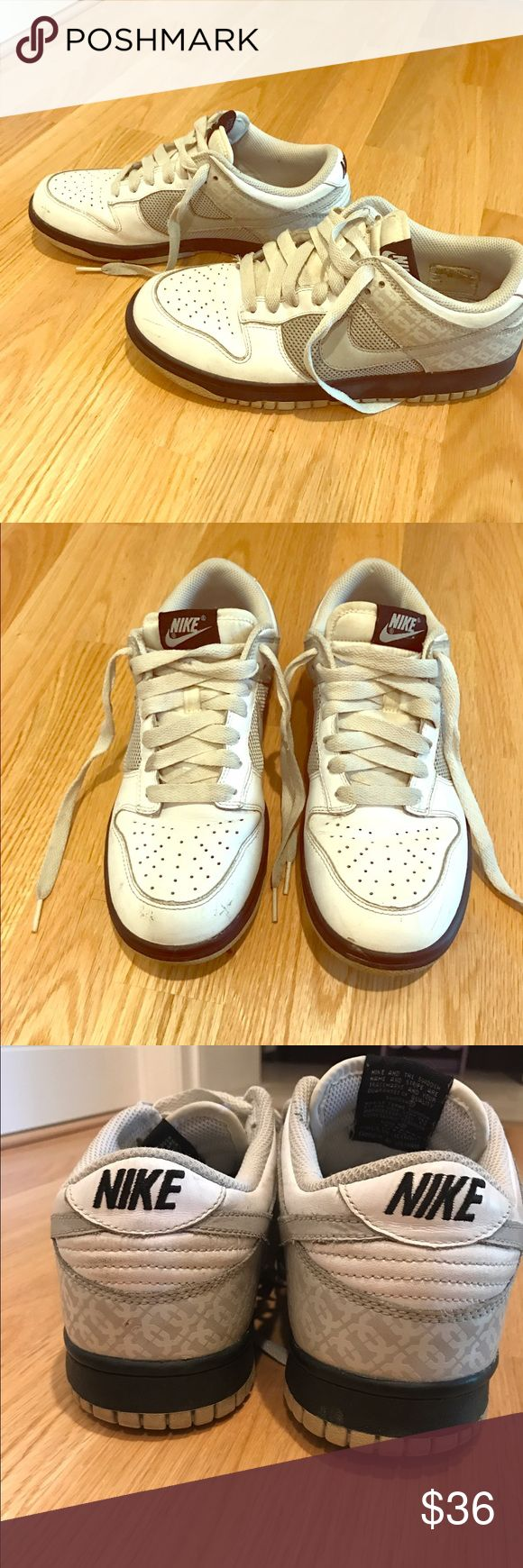 Nike Dunks Women's Nike Dunks.  Some usual wear and a few scuffs ( price will reflect) .  Otherwise good condition! Very stylish print. Nike Shoes Sneakers