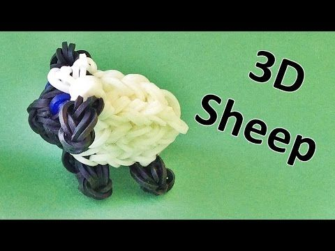 Rainbow Loom: 3D Sheep Rainbow Loom Charm | Loom bands instructions, How...