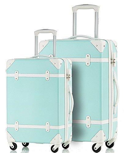 Merax Travelhouse 2-teiliges ABS-Gepäckset Vintage-Koffer (Blau & Weiß)