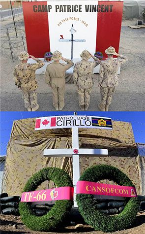 Canadian Armed Forces members deployed on Operation IMPACT are commemorating Warrant Officer Patrice Vincent and Corporal Nathan Cirillo by naming two of their locations after the members.