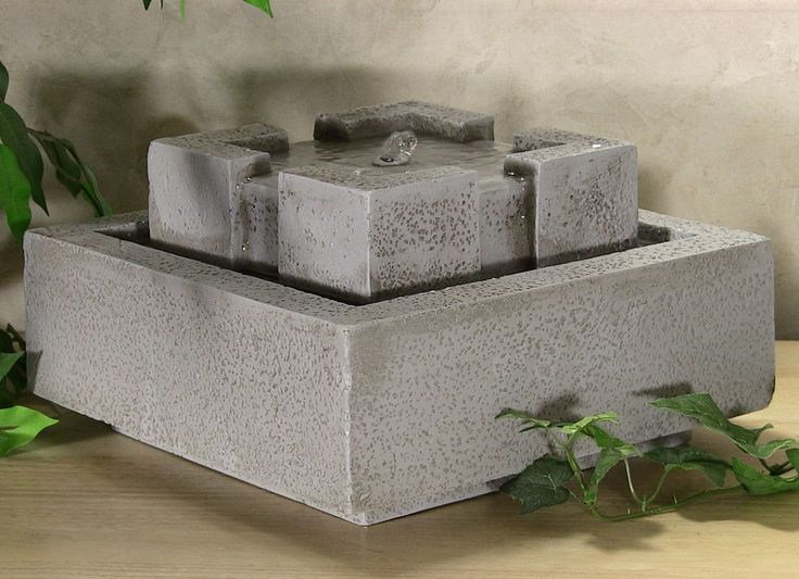 Outdoor , Extravagant Modern Outdoor Fountain for Enhancing Your Garden's Beauty : Modern Square Table Top Fountain For Outdoor Style