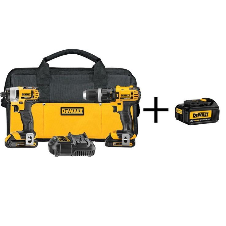 DEWALT 20-Volt MAX Lithium-Ion Cordless Combo Kit (2-Tool) with Free Battery Pack