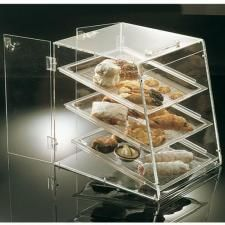 Vitrina pastelería de 3 pisos con puerta trasera y bandejas.