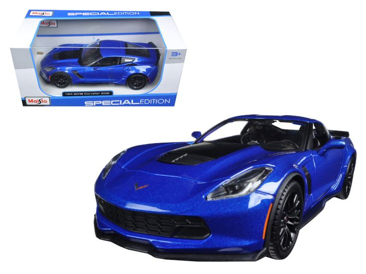 2015 Chevrolet Corvette Stingray C7 Z06 Blue 1/24 Diecast Model Car by Maisto - Brand new 1:24 scale diecast model of 2015 Chevrolet Corvette Stingray C7 Z06 Blue die cast model car by Maisto. Has opening hood and doors. Brand new box. Rubber tires. Made of diecast with some plastic parts. Detailed interior, exterior, engine compartment. Dimensions approximately L-8,W-3,H-2.5 inches. Please note that manufacturer may change packing box at anytime. Product will stay exactly the same.-Weight…
