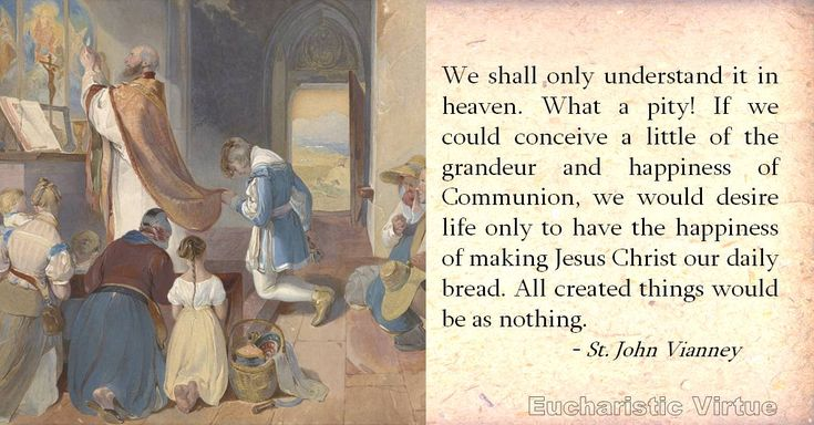 """""""We shall only understand it in heaven. What a pity! If we could conceive a little of the grandeur and happiness of Communion, we would desire life only to have the happiness of making Jesus Christ our daily bread. All created things would be as nothing.""""  Source: St. John Vianney, The Meditations"""