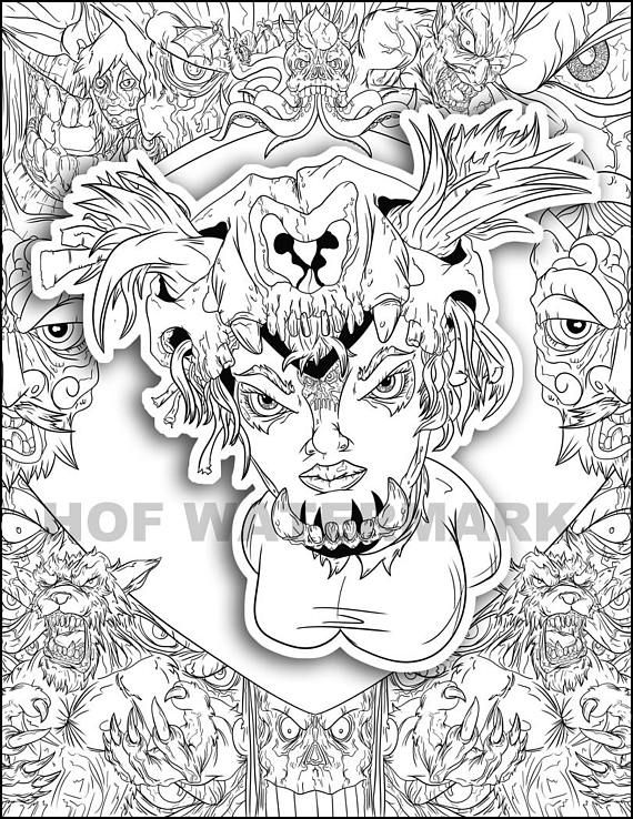 $1.99 Creepy Coloring Relax Color Page Animal Color Sheet ...