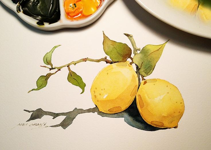 "Lemon - watercolor illustration - 8""x10"""