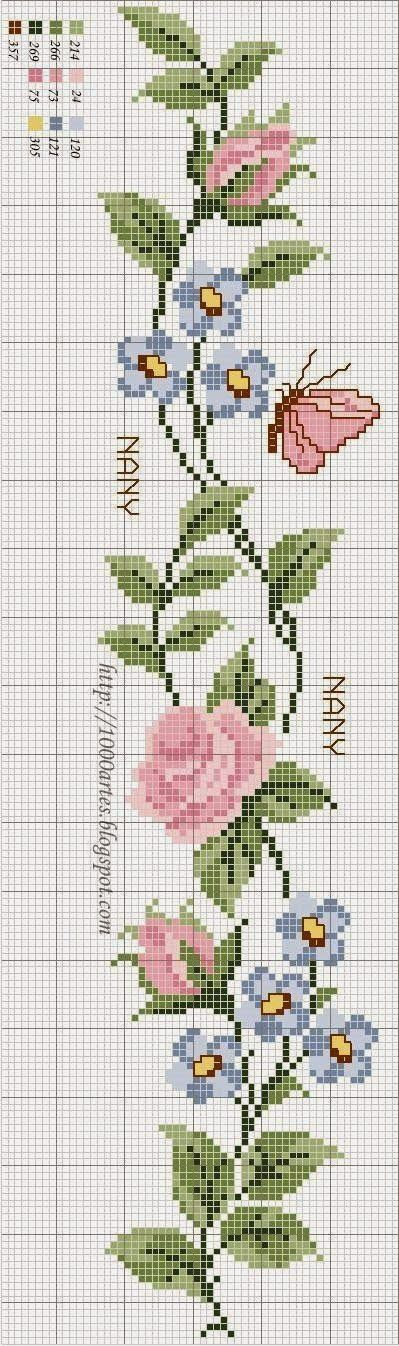 Cross Stitch Flowers and Butterfly