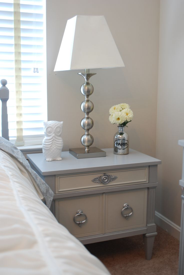 Vintage bedside table ideas - Before And After Vintage Nightstand Painted With Annie Sloan Paris Grey And Mixture Of Paris