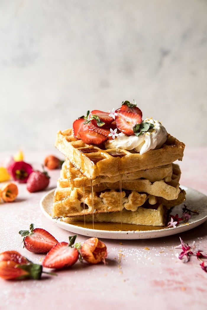 Overnight Waffles with Whipped Meyer Lemon Cream and Strawberries. - Half Baked Harvest