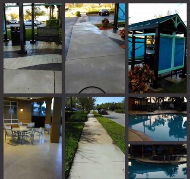 Pressure washing your commercial property will remove dirt, mold, mildew, graffiti, gum and other unsightly elements that can damage and depreciate the value of your property and impact its' curb appeal. CSG uses modern pressure washing techniques, technology and equipment to ensure that your property, parking lot or shopping center receives the deep cleaning it deserves. Here are some Pictures of a current job in Progress at the Springhill Suites hotel at Seaworld Orlando. #JobInProgress…