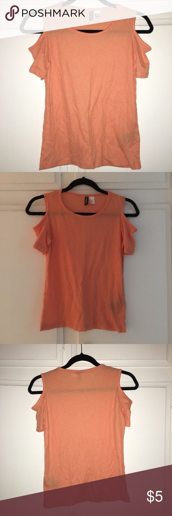 H&M Cold Shoulder Top Light orange short sleeve top with shoulder cut outs. Worn once Divided Tops Tees - Short Sleeve
