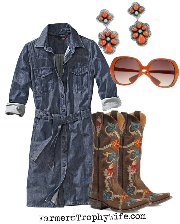 "denim shirtdress with cowboy boots.  and how cute is the blog name ""farmer's trophy wife?"""