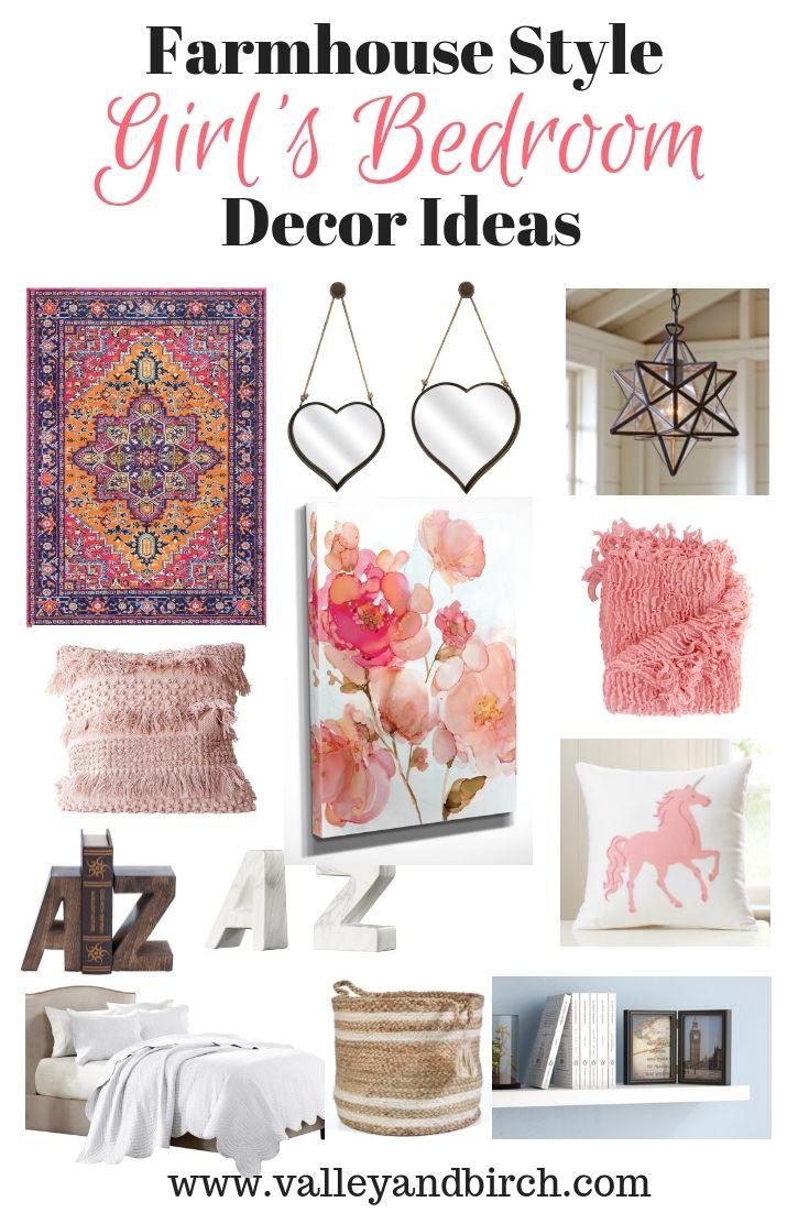 Farmhouse Style Girl's Bedroom Decor Ideas – Valley + Birch #girlsbedroom #g…