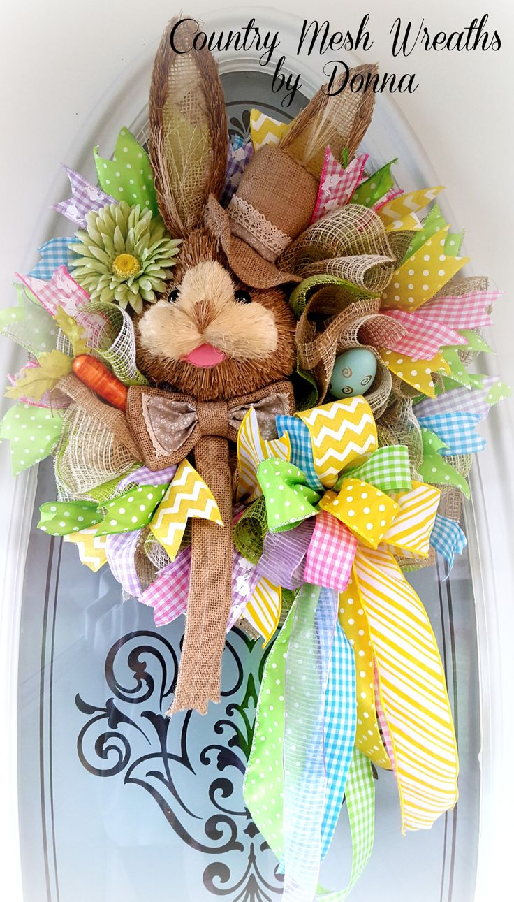 2598 Best Holiday Decor Images On Pinterest Easter Ideas Flower Mooi Printing Premium Sweater Top Garden Bunny S Sisal Head With Hat Work Wreath Fabric Mesh And Various Ribbon