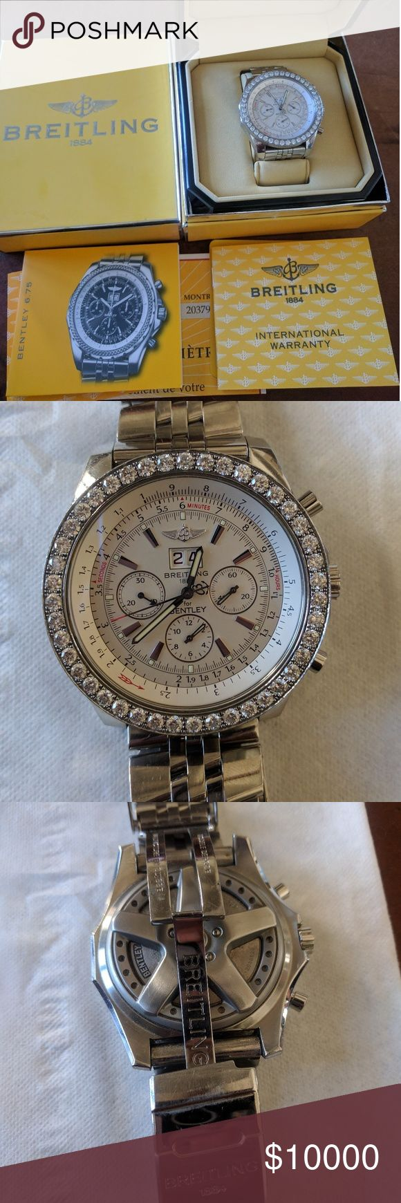 Breitling Bentley Watch Diamond embedded around the face of watch. Some wear on the links but nothing noticable while wearing. In great condition and additional links available. Breitling Accessories Watches