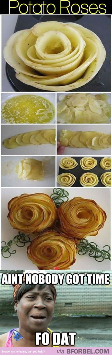 Potato Roses? Really? ~ Potato Rose Garnish ~ I've tried to make these several times. it's a disaster every time! arrrgh. they're so cute, I want to get it right !!!