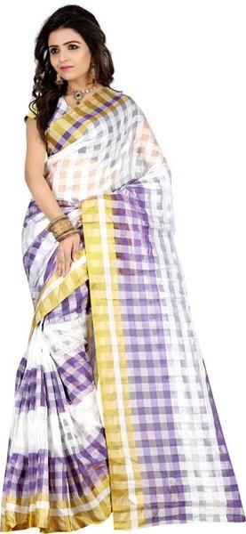 LadyIndia.com # Silk Saree, Gorgeous White Purple Tissue Silk Saree For Women- Sari, Printed Sarees, Casual Saris, Silk Saree, https://ladyindia.com/collections/ethnic-wear/products/gorgeous-white-purple-tissue-silk-saree-for-women-sari