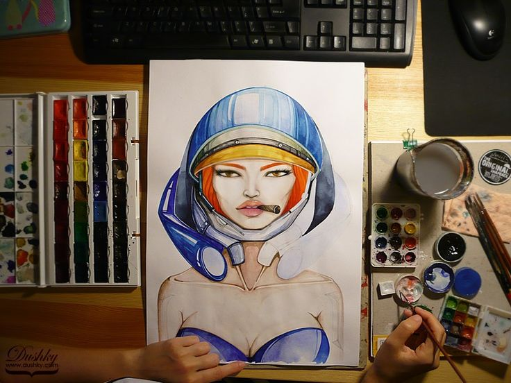 wip illustration by #dushky | #art #fashion #illustration #gaming #videogames #starcraft #girl #ginger #orange #blue #lips #look #cigar #watercolor #metal #armour #corphack