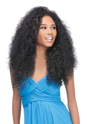 Longue perruque afro Demi-Tête Quick Weave ROXY en fibres synthétiques Futura, présentée en teinte 1B.