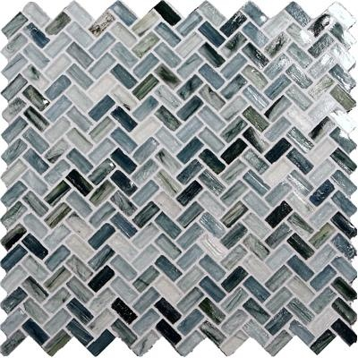 The muted blues, grays, and off-whites of these mosaic glass tiles evoke the restful colors of the sea.---for bathroom♥