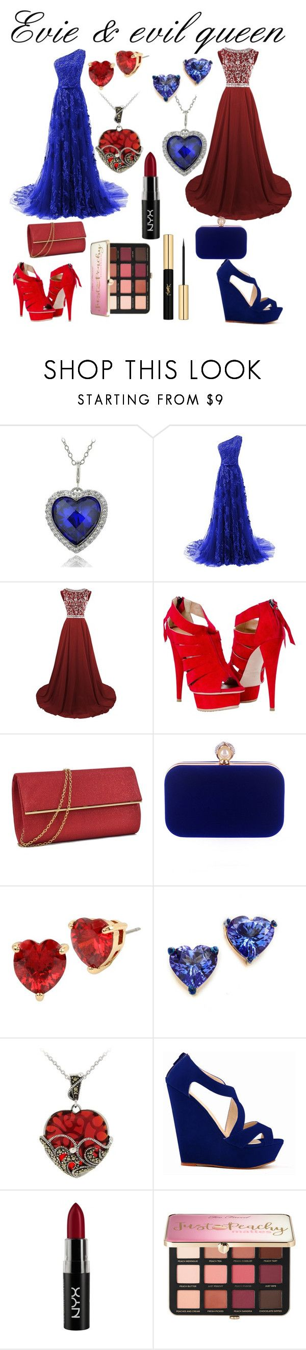 """""""Evie & evil queen"""" by alexandra-wolfie ❤ liked on Polyvore featuring Icz Stonez, WithChic, Betsey Johnson, Holly Dyment, Glitzy Rocks, NYX, Sephora Collection and Yves Saint Laurent"""