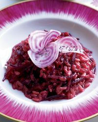 Beet Risotto Recipe from Food & Wine....Anne made this for dinner last night.  So delicious....especially with beets from our garden.  She made it in our pressure cooker.
