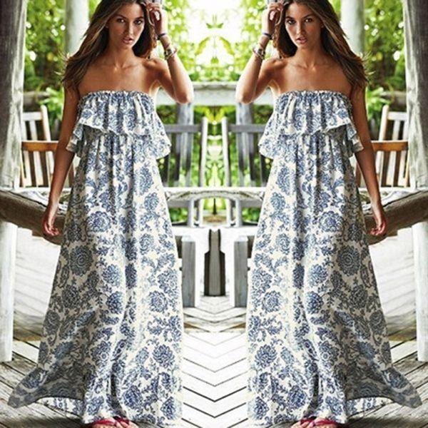Summer Boho Women's Lady Long Maxi Evening Party Sexy Dress Beach Chiffon Dress #Unbranded #Bohemia #Clubwear