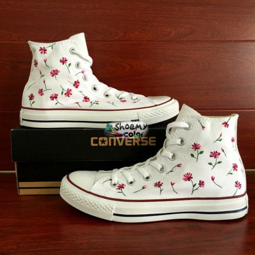 High Top Womens Converse Shoes Floral Hand Painted Canvas Sneakers