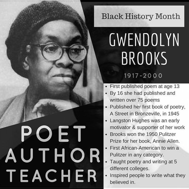 Gwendolyn Brooks was a poet born in Kansas but moved to Chicago as a part of the Great Migration which was to move over 6 million African Americans from the rural South to the Northeast Midwest and West. At the age of 13 she published her first poem in a local magazine. By the time she was 16 she had written over 75 poems. She would later connect with Langston Hughes who would support her work and encourage her to keep writing. She published her first book A Street in Bronzeville in 1945…