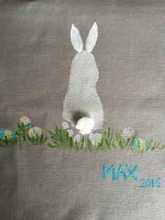 Easter bunny using footprint and fingerprints for eggs