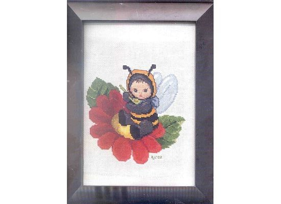 Completed Cross Stitch  Bumblebee Baby by dannileifer on Etsy, $8.88