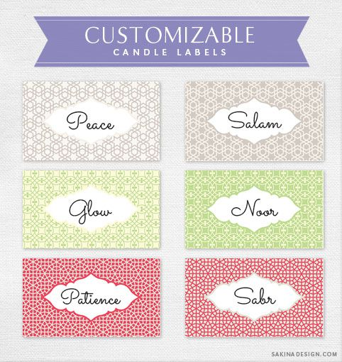 customizable candle labels by sakina design in my studio diy craft projects pinterest. Black Bedroom Furniture Sets. Home Design Ideas