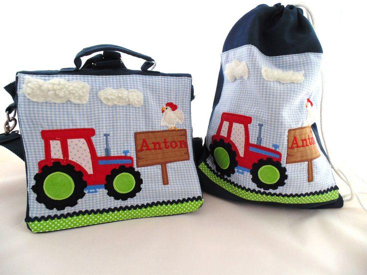 """Rucksäcke - ♥Kindergarten-Set """"kleiner Traktor""""♥ - ein Designerstück von Bines-Zauberwerkstatt bei DaWanda"""