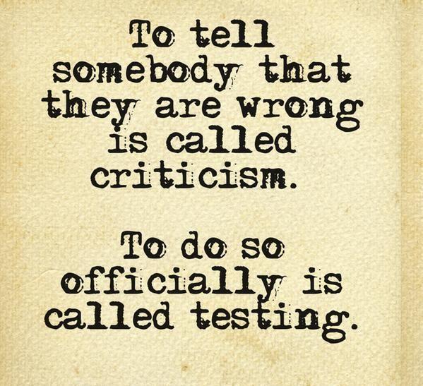 criticism vs software testing