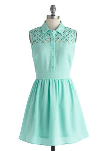 This lattice effect looks awesome, but it would be a lot of work. Star Catching Dress in Dusk - Mid-length, Solid, Buttons, Cutout, Casual, Shirt Dress, Sleeveless, Collared, Blue, Daytime Party, Pastel, Spring, Summer, Variation