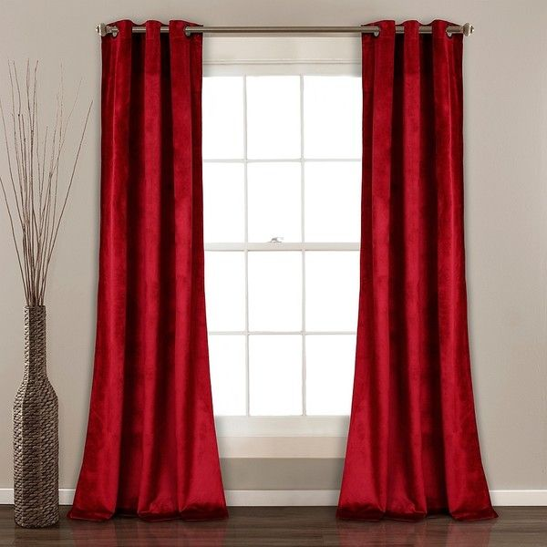 Red Prima Velvet Curtain Panel Set 84 In 315 Cny Liked On