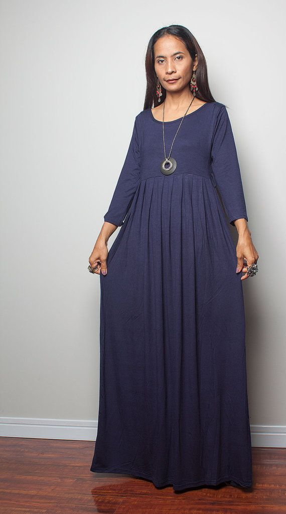 Maxi Dress with 3/4 Sleeves / Long Navy Blue Dress  by Nuichan, $59.00