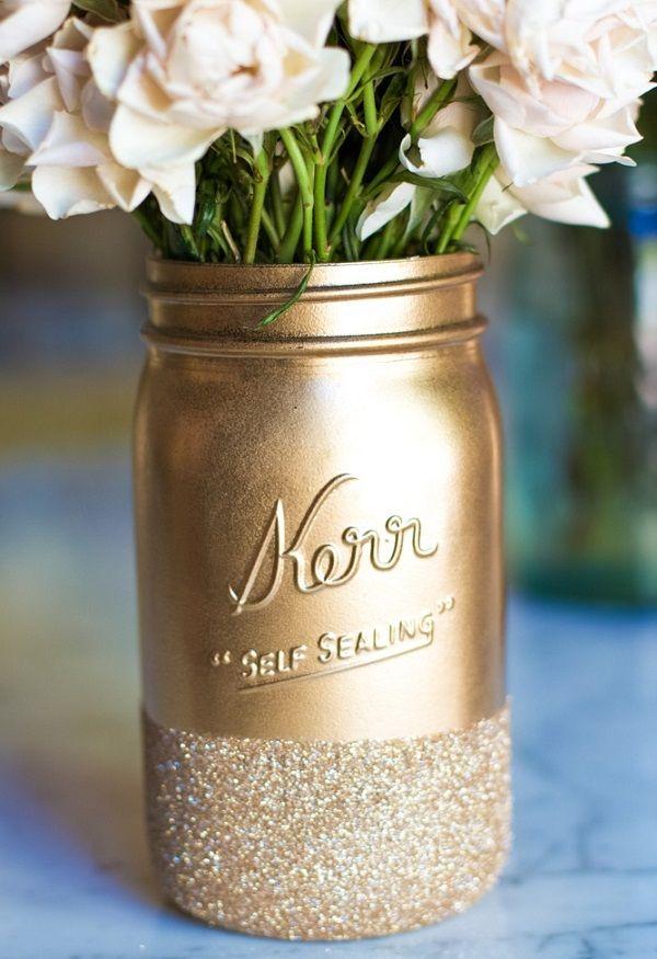 gold glitter mason jar... I love anything glittery!