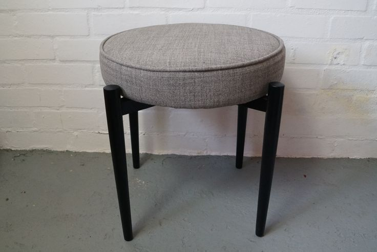 Mid century sputnik style stool with grey wool upholstery vintageactually.co.uk