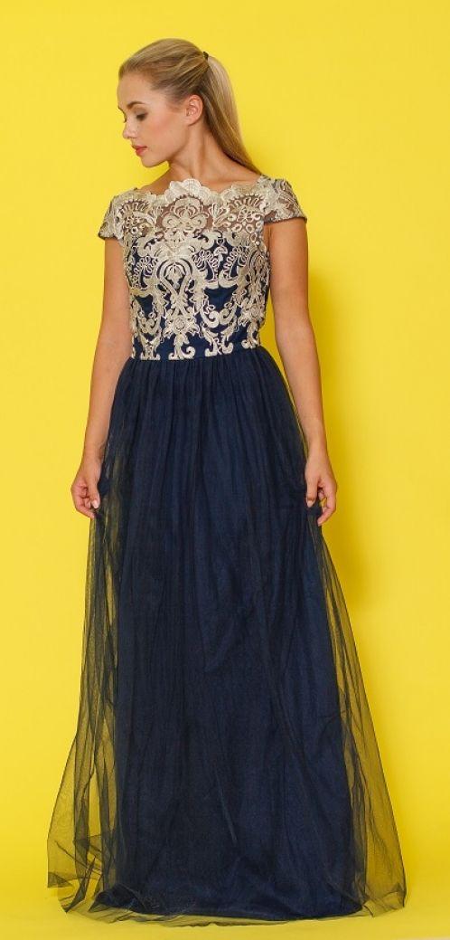 Chi Chi London dlouhé šaty Talya, tmavě modré
